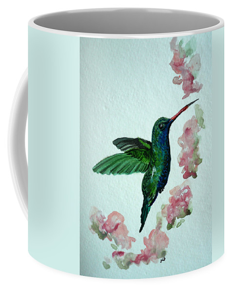 Hummingbird Painting Tropical Bird Green Bird Painting Coffee Mug featuring the painting Hummingbird 4 by Karin Dawn Kelshall- Best