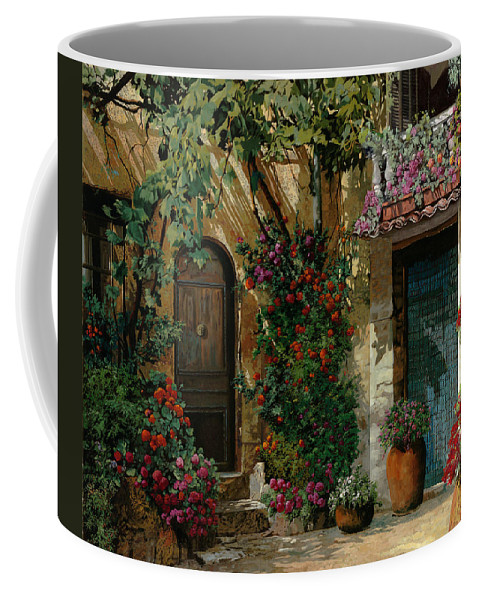 Landscape Coffee Mug featuring the painting Fiori In Cortile by Guido Borelli