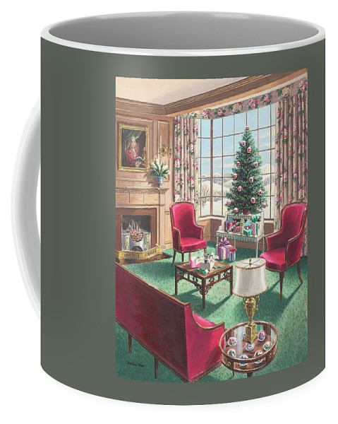 Coffee Mug featuring the painting Illustration Of A Christmas Living Room Scene by Urban Weis