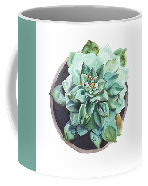 Succulent Coffee Mug featuring the painting Imperfect Mystery by Brittany Bert Selfe