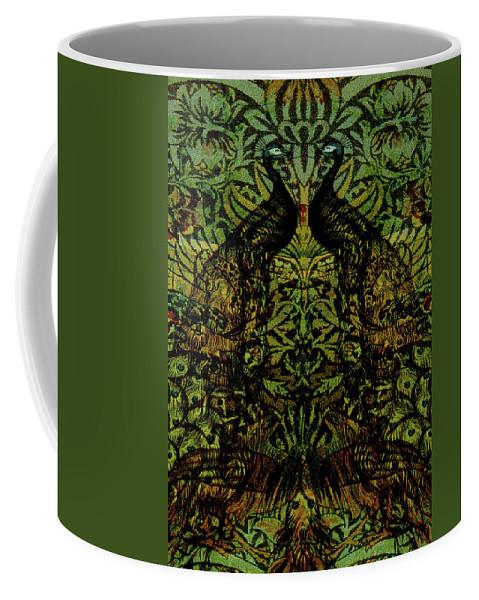 Peafowls Coffee Mug featuring the digital art Indian Blue Peafowl Pattern by Sarah Vernon
