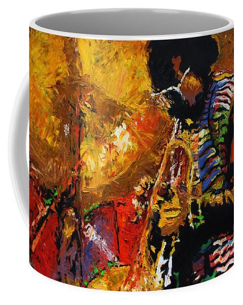 Jazz Coffee Mug featuring the painting Jazz Miles Davis 3 by Yuriy Shevchuk