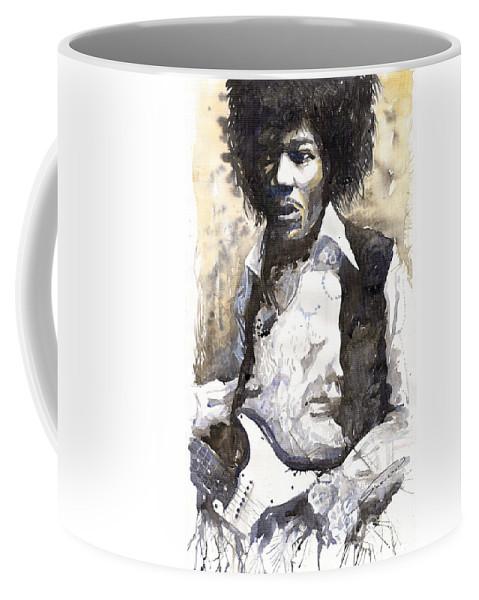 Jazz Coffee Mug featuring the painting Jazz Rock Jimi Hendrix 04 by Yuriy Shevchuk