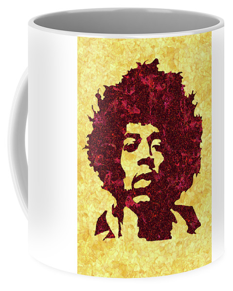 Jimi Hendrix Print Coffee Mug featuring the mixed media Jimi Hendrix Print, Jimi Hendrix Poster, Rock Music Lovers Gift by Irina Pospelova
