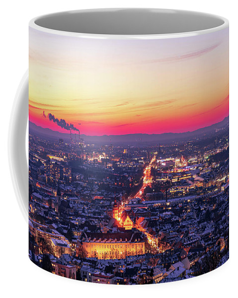 Karlsruhe Coffee Mug featuring the photograph Karlsruhe in winter at sunset by Hannes Roeckel