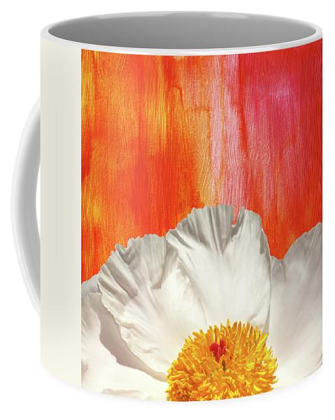 Krinkled White Peony Flower Coffee Mug featuring the mixed media Krinkled White Peony Flower by Trevor Slauenwhite
