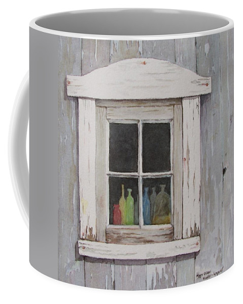 Quebec Coffee Mug featuring the painting Lac Beauport Window by Mary Ellen Mueller Legault