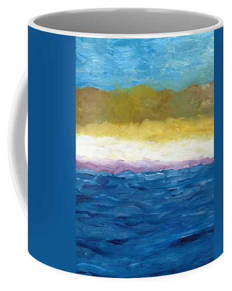 Abstract Landscape Coffee Mug featuring the painting Lake Michigan Dunes Study by Michelle Calkins