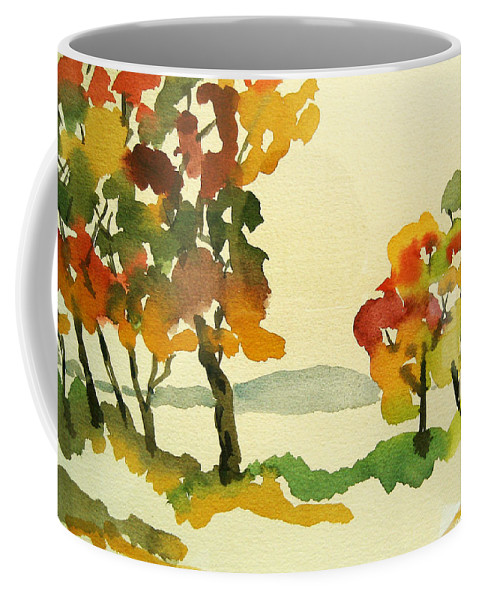 Landscape Coffee Mug featuring the painting Lake Study by Mary Ellen Mueller Legault