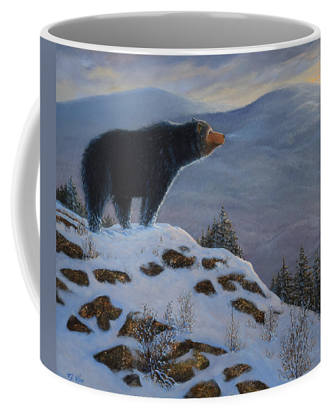 Wildlife Coffee Mug featuring the painting Last Look Black Bear by Frank Wilson
