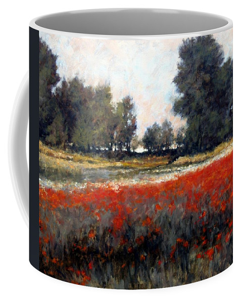 Landscape Coffee Mug featuring the painting The Red Field by Jim Gola