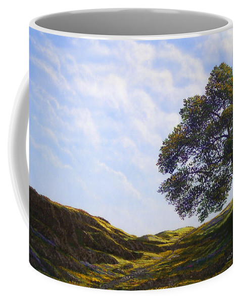 Landscape Coffee Mug featuring the painting Lava Rock And Flowers by Frank Wilson