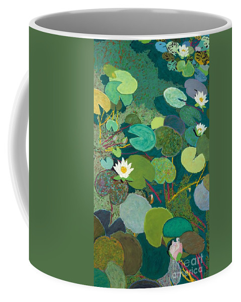 Landscape Coffee Mug featuring the painting Lazy Pond by Allan P Friedlander