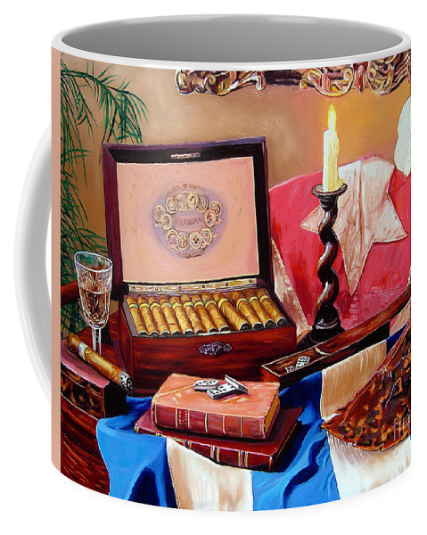 Cuban Art Coffee Mug featuring the painting Legacy Of Pleasures by Jose Manuel Abraham