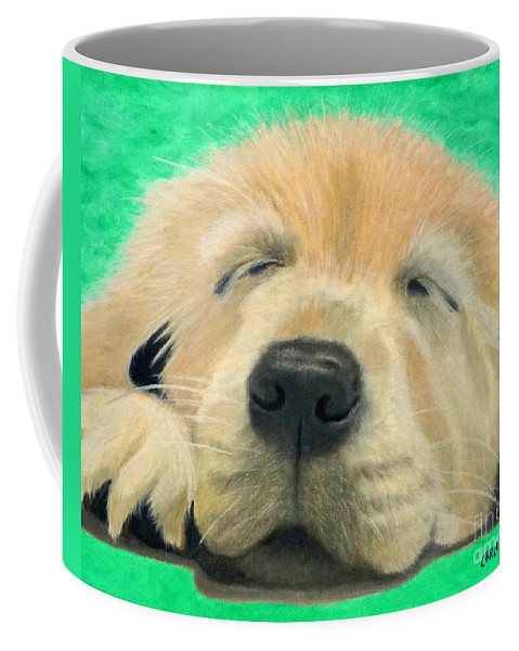 Golden Retriever Coffee Mug featuring the painting Life On Pause by Chris Naggy