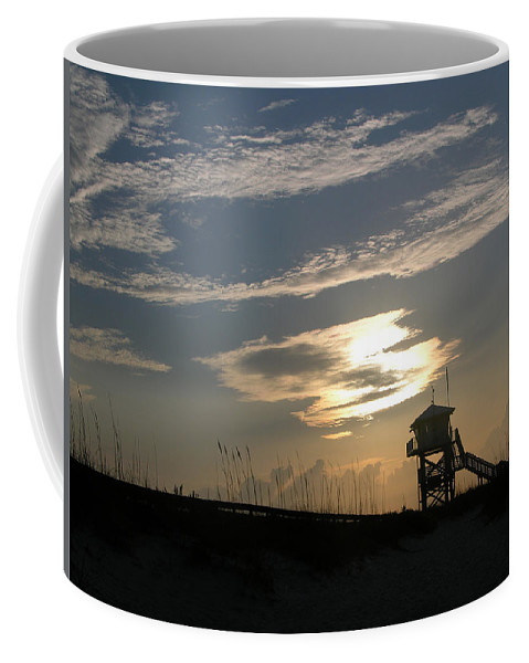 Photography Of The Beach Coffee Mug featuring the photograph Lifeguard Tower At Dawn by Julianne Felton