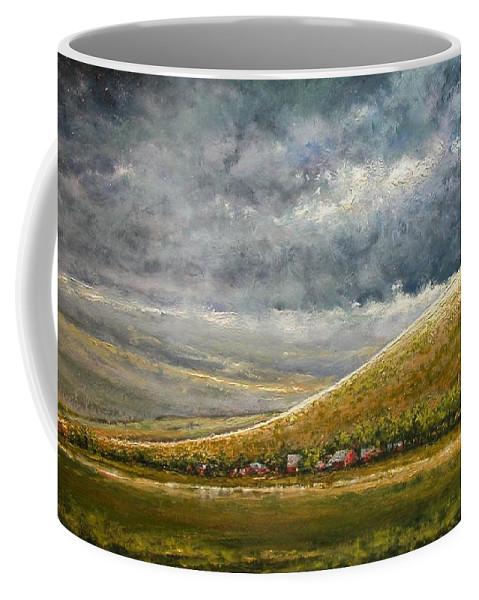 Landscape Coffee Mug featuring the painting Lightburst-Jackson Hole by Jim Gola