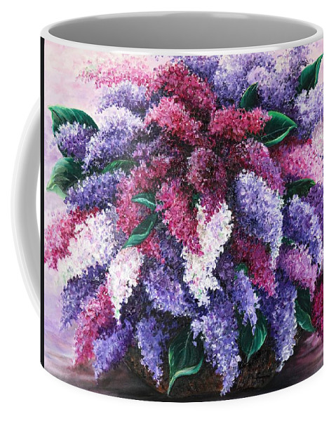 Lilacs Coffee Mug featuring the painting Lilac Time by Karin Dawn Kelshall- Best