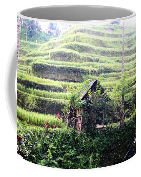 Hut Coffee Mug featuring the digital art Little hut surrounded by flowers by Worldvibes1