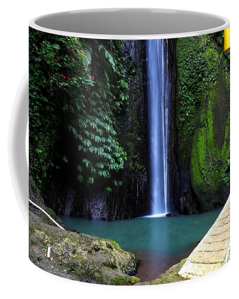 Waterfall Coffee Mug featuring the digital art Lonely waterfall by Worldvibes1