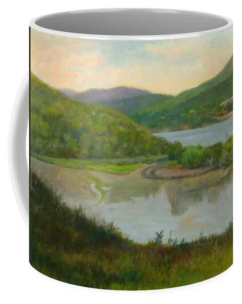 Landscape Coffee Mug featuring the painting Looking South From St. Basil by Phyllis Tarlow