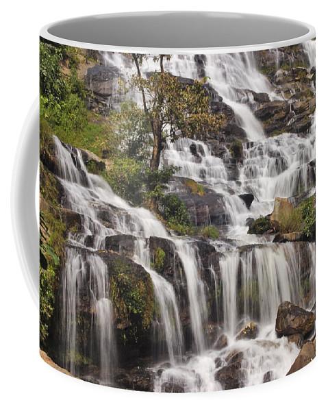 3scape Coffee Mug featuring the photograph Mae Ya Waterfall by Adam Romanowicz