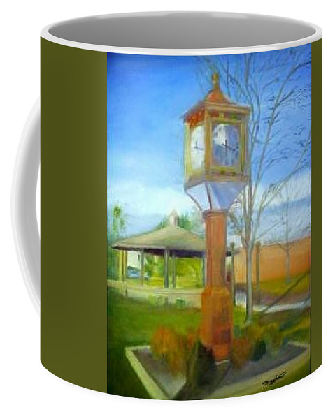 Maple Shade Coffee Mug featuring the painting Maple Shade Clock by Sheila Mashaw