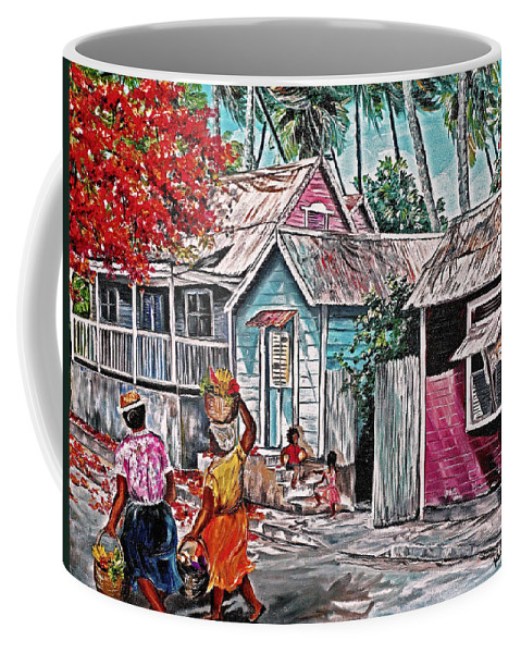 Market Women Painting Barbados Painting Islands Painting  Poinciana Painting Houses Painting Poinciana Painting Caribbean Painting Tropical Painting Coffee Mug featuring the painting Marketday Barbados by Karin Dawn Kelshall- Best