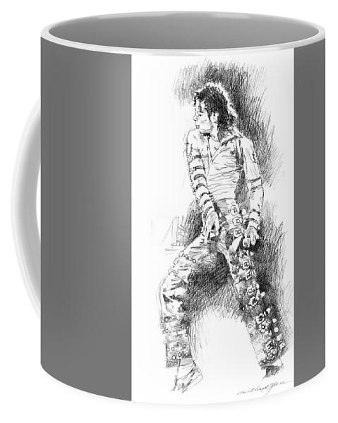 Michael Jackson Coffee Mug featuring the drawing Michael Jackson - Onstage by David Lloyd Glover
