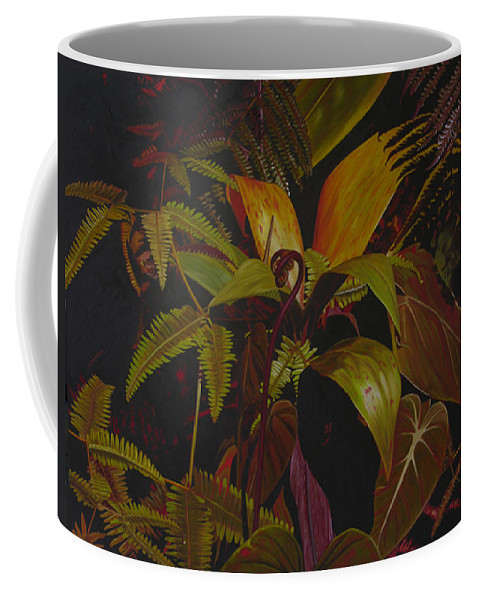 Plant Coffee Mug featuring the painting Midnight in the garden by Thu Nguyen