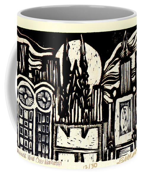 Bizarre Coffee Mug featuring the mixed media Midnight Wind Over Manhattan by Seth Weaver