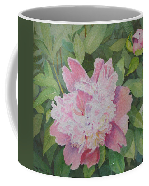 Peony Coffee Mug featuring the painting Mimis Delight by Mary Ellen Mueller Legault