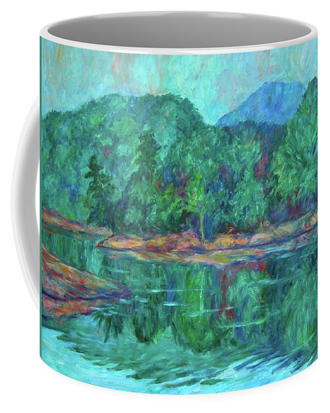 Landscape Coffee Mug featuring the painting Misty Morning at Carvins Cove by Kendall Kessler