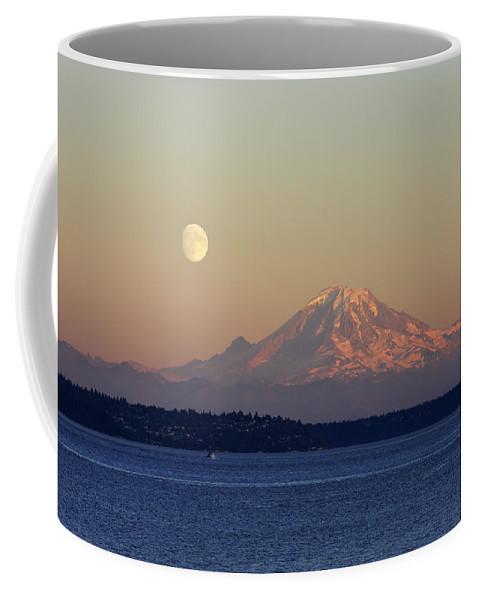 3scape Coffee Mug featuring the photograph Moon Over Rainier by Adam Romanowicz