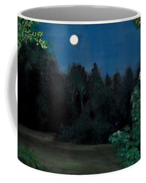 Moon Coffee Mug featuring the painting Moon Shadow by Susan Moore