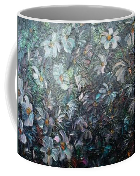 Floral Daisies Abstract Coffee Mug featuring the painting Moonlight And Daisies.. by Karin Dawn Kelshall- Best