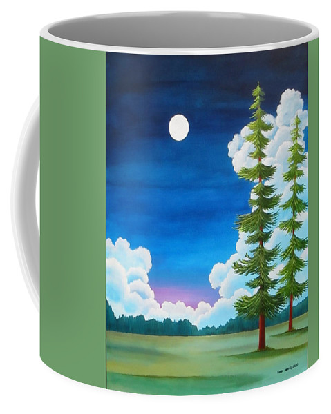 Moon Coffee Mug featuring the painting Moonshine and Still Standing by Carol Sabo