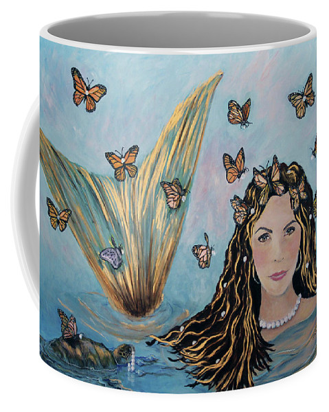 Mermaid Coffee Mug featuring the painting More Precious Than Gold by Linda Queally