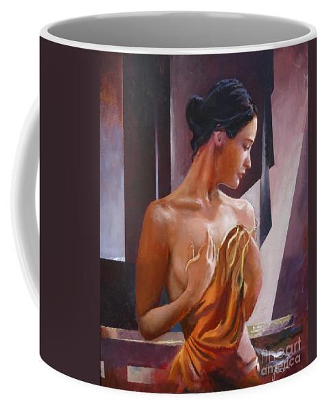 Female Figure Coffee Mug featuring the painting Morning Beauty by Sinisa Saratlic