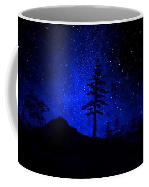 Big Tree Coffee Mug featuring the painting Mural Big Tree Silhouette by Frank Wilson