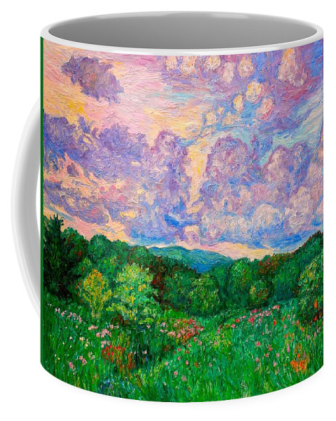 Landscape Coffee Mug featuring the painting Mushroom Clouds by Kendall Kessler