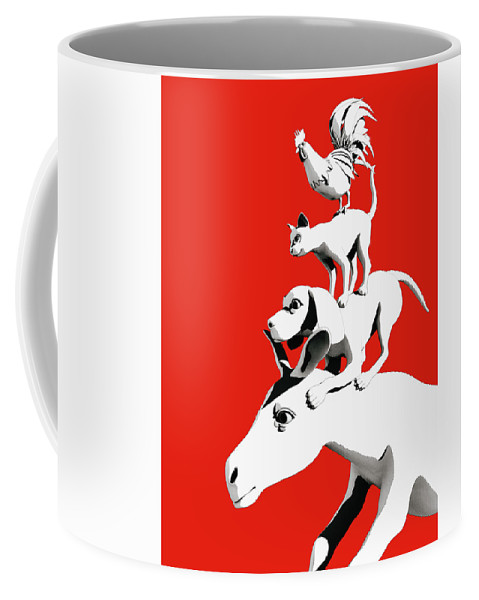 Donkey Coffee Mug featuring the digital art Musicians of Bremen_red by Heike Remy