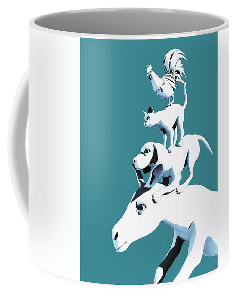 Donkey Coffee Mug featuring the digital art Musicians of Bremen_teal by Heike Remy