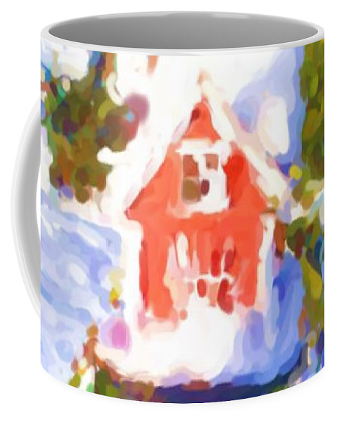 My Bird House Coffee Mug featuring the mixed media My Bird House by Asbjorn Lonvig