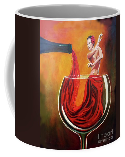 Wine Coffee Mug featuring the painting My Wine Lady by Jose Manuel Abraham
