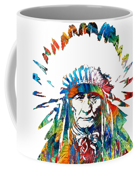 Native American Coffee Mug featuring the painting Native American Art - Chief - By Sharon Cummings by Sharon Cummings