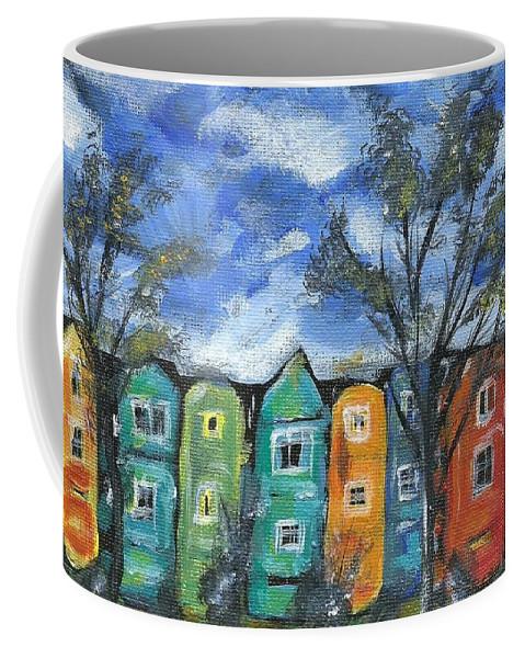 Neighborhood Painting Coffee Mug featuring the painting Neighborhood by Monica Resinger