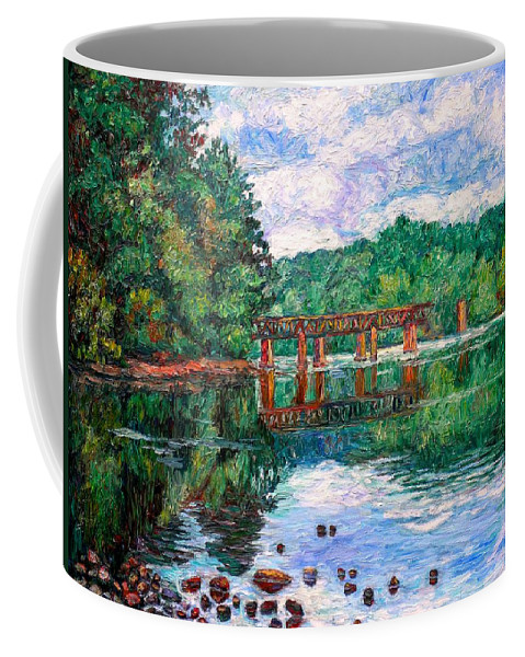 Landscape Coffee Mug featuring the painting New River Trestle by Kendall Kessler