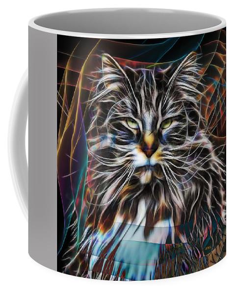 Cat Coffee Mug featuring the digital art Night Hunter - Square Version by Studio B Prints