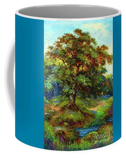 Landscape Coffee Mug featuring the painting Oak Tree Tranquility by Jane Small
